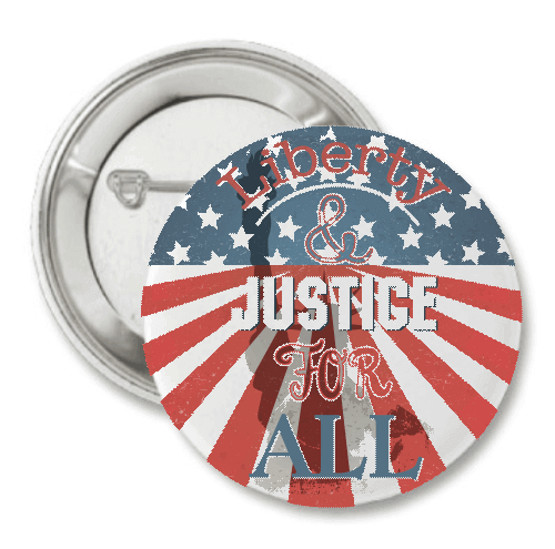 "Vintage Liberty & Justice 3"" Button"