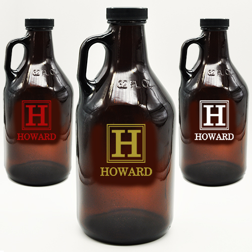 Amber Growler Custom Monogram