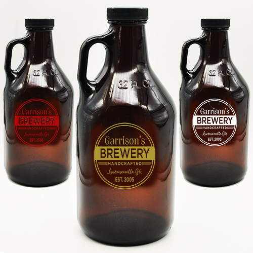 Custom Growler for Brewery or Bar, Amber