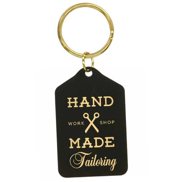 Black Brass Engraved Key Chain - Tablet Style