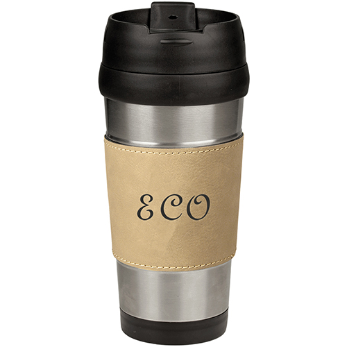 3 Line Leatherette Travel Mug
