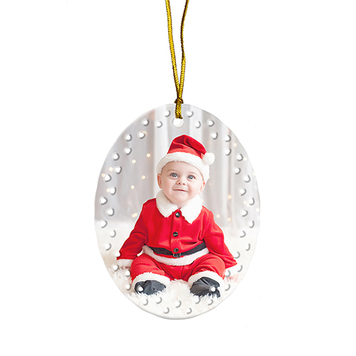 Custom Baby's First Christmas Oval Ornament