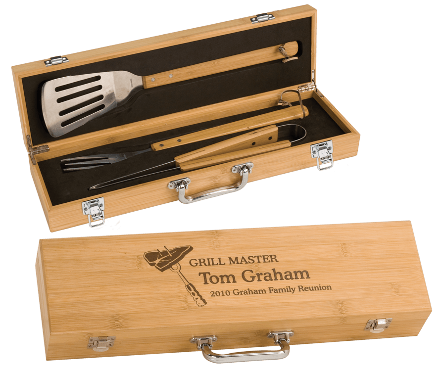 Custom Engraved BBQ Utensil Box Set