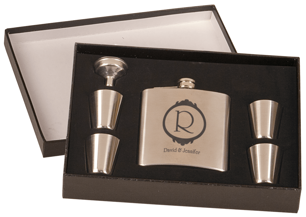 Custom Engraved Stainless Steel Flask Set