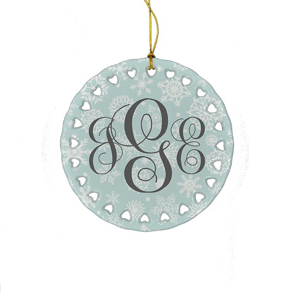 Custom Tiffany Gray Snowflake Monogram Ornament