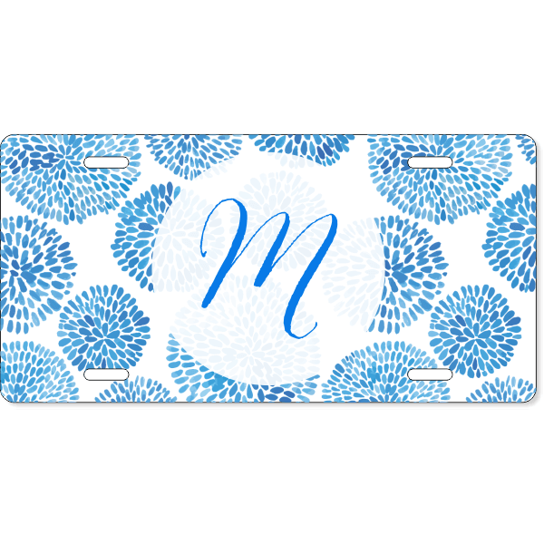 Custom Watercolor Monogram License Plate