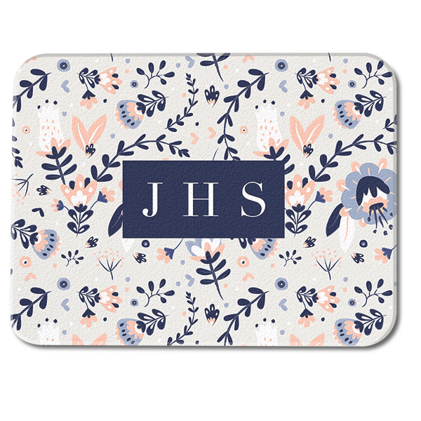 Watercolor Floral Custom Monogram Glass Cutting Board