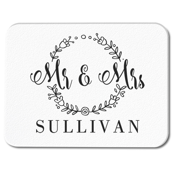 Floral Frame Mr. and Mrs. Custom Wedding Glass Cutting Board