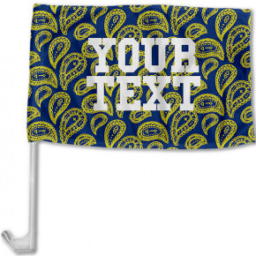 Michigan Inspired Blue and Yellow Collegiate Car Flag with pole
