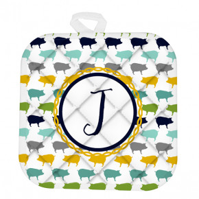 Custom Monogram Eclectic Piggies Pot Holder