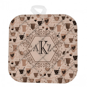 Custom Monogram Mocha Tea Time Pot Holder