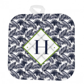 Custom Monogram Navy Palms Pot Holder