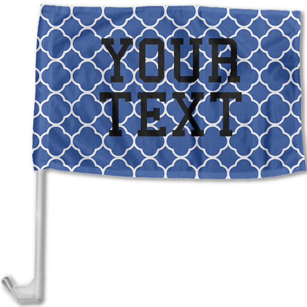 North Carolina Inspired Blue and White Collegiate Car Flag with pole