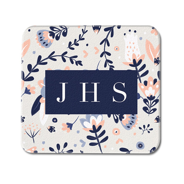 Watercolor Floral Custom Monogram Glass Coaster