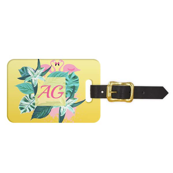 Tropical Vibes Flamingo Luggage Tag - Front