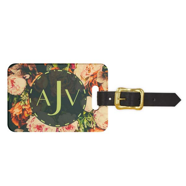 Vintage Floral Initials Luggage Tag - Front