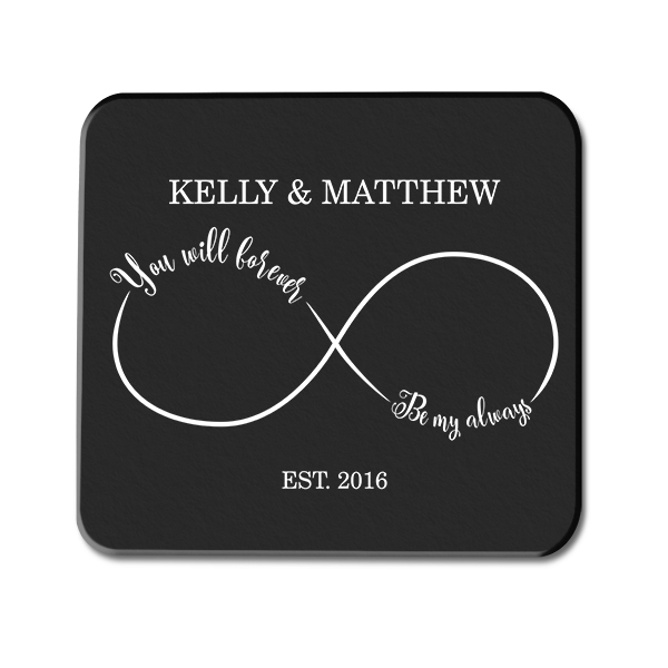 Forever and Always Infinity Custom Wedding Glass Coaster