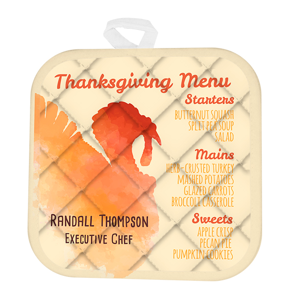 2 Line Custom Thanksgiving Menu Pot Holder