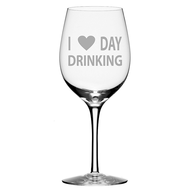 I Love Day Drinking Wine Glass