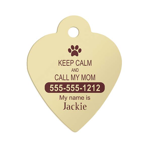 Keep Calm Paw Heart Pet ID Tag