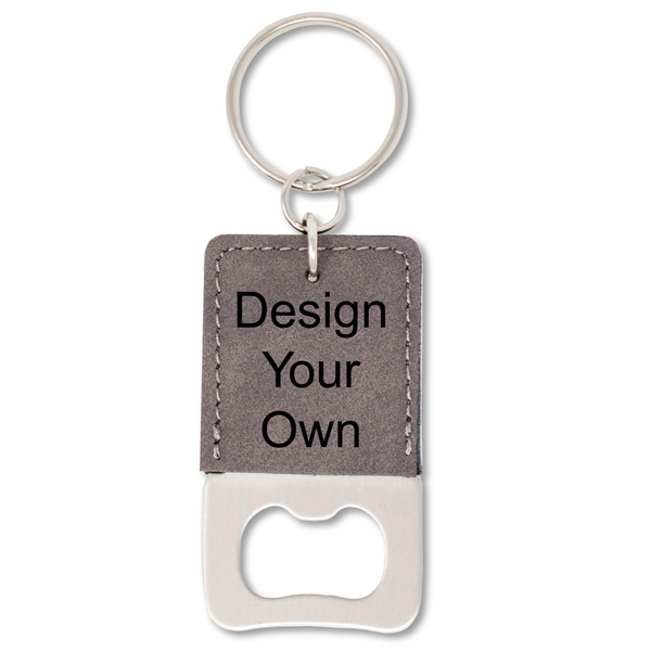 Leatherette Bottle Opener Keychain - Square
