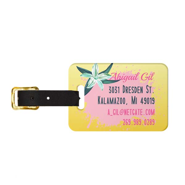 Tropical Vibes Flamingo Luggage Tag - Back