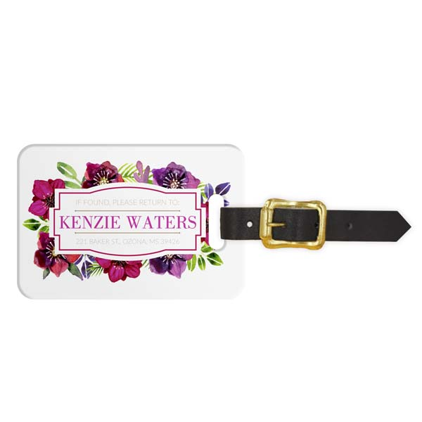 Watercolor Dahlia Luggage Tag - Front