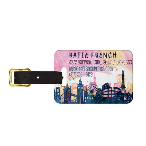 Skylines Watercolor Luggage Tag - Back