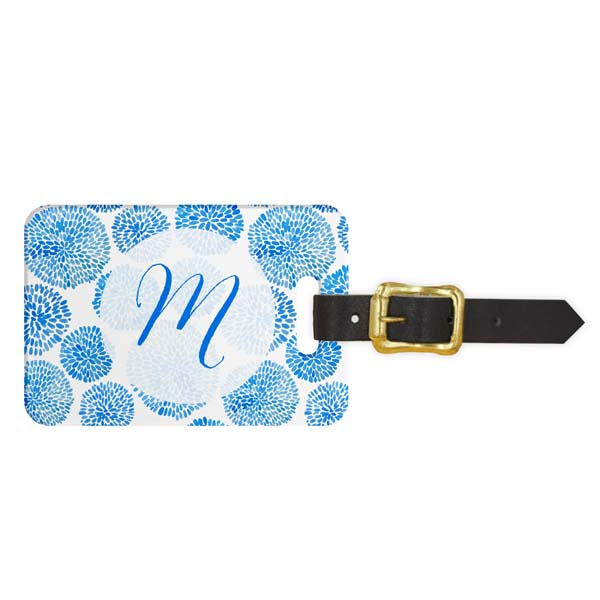 Brush Blooms Monogram Luggage Tag - Front