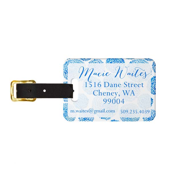 Brush Blooms Monogram Luggage Tag - Back