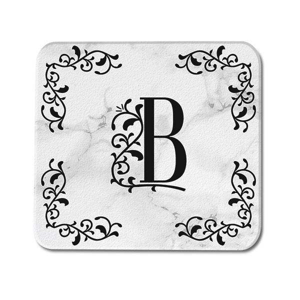 Marble Ornate Custom Monogram Glass Coaster