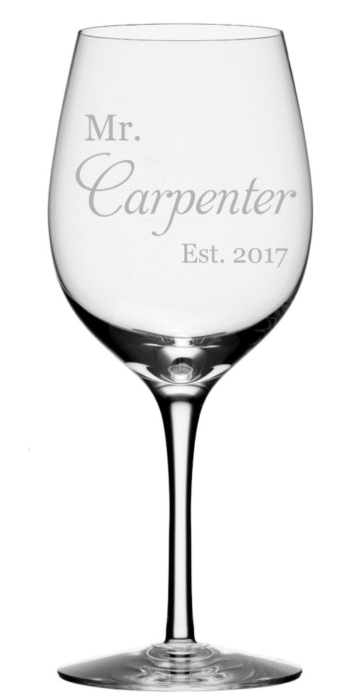 Mr. Carpenter Est. Date Wine Glass