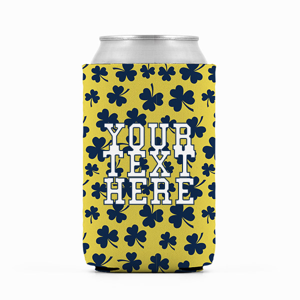 ND Irish Navy and Gold Inspired Collegiate Can Koozie