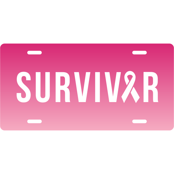 Ombre Breast Cancer Survivor License Plate