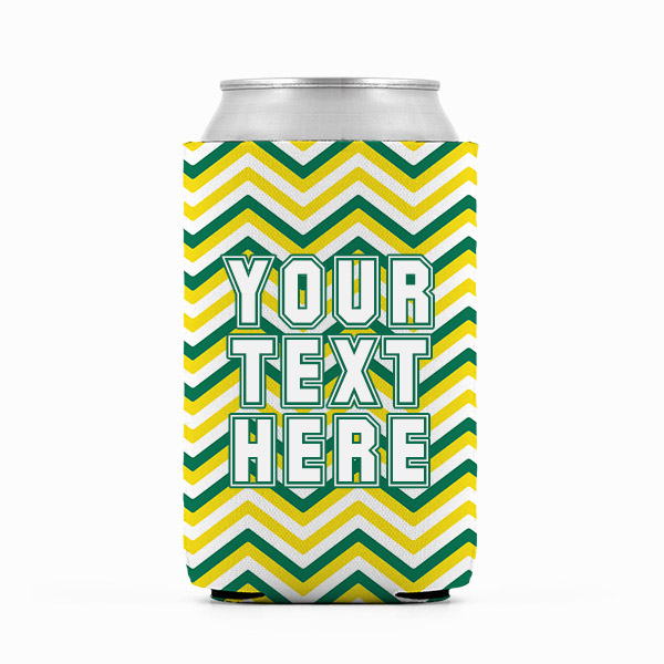 Oregon Inspired Green and Yellow Collegiate Can Koozie