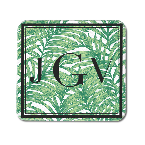 Palm Leaf Tropical Custom Monogram Glass Coaster