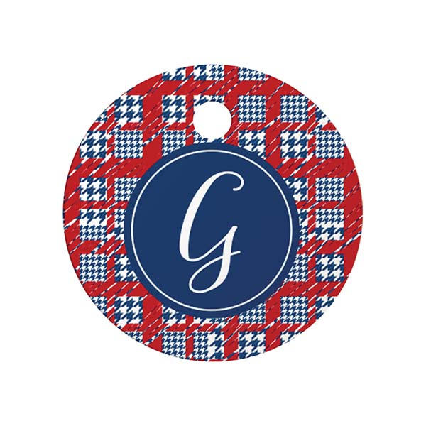 Plaid Monogram Round Pet ID Tag