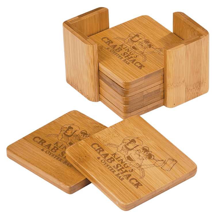 Engraved Wooden Coaster Set (Square)