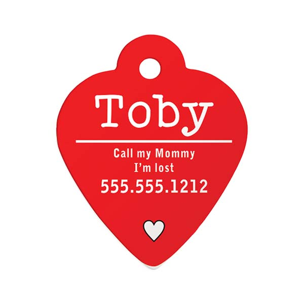 Toby Red Heart ID Pet Tag