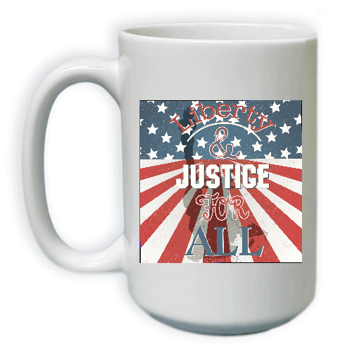 Vintage Lady Liberty & Justice for All Coffee Mug