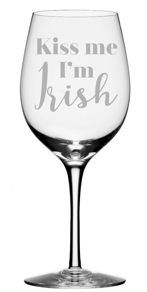 Kiss Me, I'm Irish Wine Glass