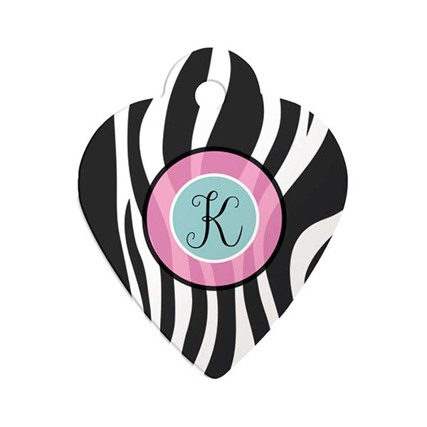 Zebra Monogram Heart Pet ID Tag