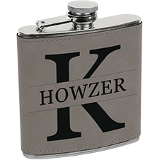 Personalized Initial Leatherette Flask